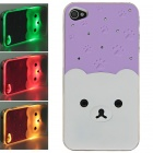 Plastic Back Case w/ Calling 7-Color Flash / Contract Switch for Iphone 4 / 4S - Purple + White