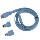 3-in-1 HDMI Male to Male Cable + HDMI Female to Micro HDMI / Mini HDMI Male Adapters - Blue (153cm)