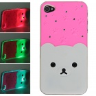 Protective Plastic Back Case w/ Calling 7-Color Flash / Contract Switch for Iphone 4/4S - Deep Pink