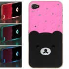 Plastic Back Case w/ Calling 7-Color Flash / Contract Switch for Iphone 4 / 4S - Pink + Black