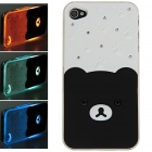 Plastic Back Case w/ Calling 7-Color Flash / Contract Switch for Iphone 4 / 4S - Black + White