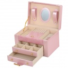 PU Leather Triple Layers Jewelry Ornaments Square Storage Case w/ Lock / Mirror / Handle - Pink