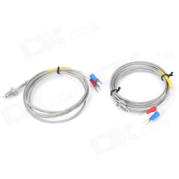 M6 Screw Type Small Thermocouple / Temperature Meter Sensor - Silver Grey + Yellow (2 PCS / 1M) wholesale m6 screw probe k type thermocouple temperature sensor with 3m wire for industrial temperature controller