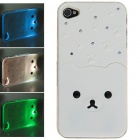 Protective Plastic Back Case w/ Calling 7-Color Flash / Contract Switch for Iphone 4 / 4S - White