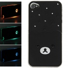 Protective Plastic Back Case w/ Calling 7-Color Flash / Contract Switch for Iphone 4 / 4S - Black