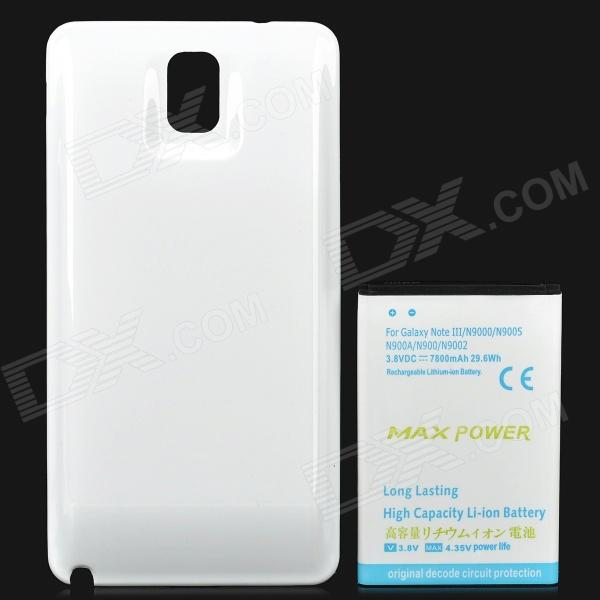 Replacement 7800mAh Li-ion Battery + Plastic Back Case for Samsung Galaxy Note 3 / N9000 - White pisen mobile phone replacement 3200mah battery for samsung galaxy note 3 n9002 9006 9008 9009