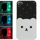 Plastic Back Case w/ Calling 7-Color Flash / Contract Switch for Iphone 4 / 4S - White + Black