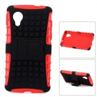 2-in-1 Detachable TPU + PU Back Case w/ Stand for LG Nexus 5 - Black + Red