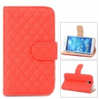 Diamond Lattice Pattern PU Leather Flip-Open Stand Case for Samsung Galaxy S4 / i9500 - Red