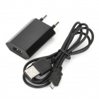 USB to Micro USB Data Charging Cable + EU Plug Power Adapter for LG Nexus 5 / E980 - Black