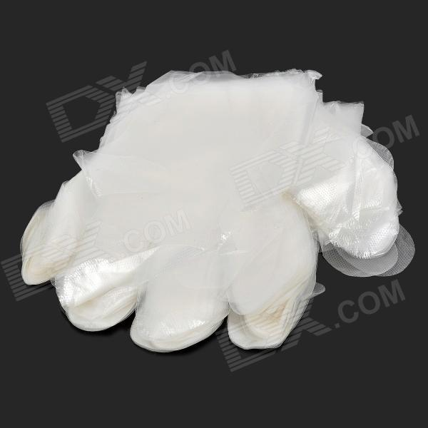 Zhenxing HQS-G106238 Disposable HDPE Gloves - White (100 PCS) fwpp disposable nitrile gloves medical grade powder free latex free disposable non sterile food safe s m l black 50 pcs