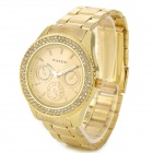 PAIDU 58916 Zinc Alloy Case Stainless Steel Band Quartz Analog Wrist Watch - Golden