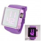 "TVG 4G08 Fashion 1.3"" LED Squared Zinc Alloy Rubber Band Digital Wrist Watch - Purple (2 x CR2016)"