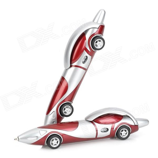 LY-0004 Cute Plastic Car Style Blue Ink Ball Pen - Deep Red + Silver (2 PCS) cs 0004