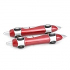 LY-0004 Cute Plastic Car Style Blue Ink Ball Pen - Deep Red + Silver (2 PCS)