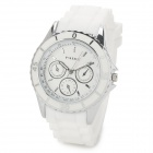 PAIDU 304-1 Zinc Alloy Case Silicone Band Quartz Analog Wrist Watch for Women - Silver + White