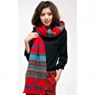 Stylish Deer Pattern Wool Warm Scarf for Women - Multicolored