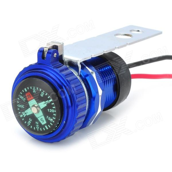 Water Resistant Motorcycle USB Cigarette Lighter Style Charger w/ Compass - Blue + Black + Silver