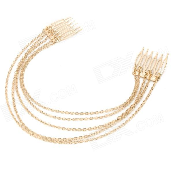 FS-01 Hair Decorative Zinc Alloy Combs w/ Fringe Chain - Golden