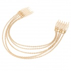 Hair Decorative Zinc Alloy Combs w/ Fringe Chain - Golden
