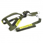 JUQI Adjustable Nylon Reflective Harness Belt Strap for Police Dog - Army Green + Yellow