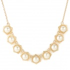 Fashion Plated Gold + Pearls Pendant Necklace for Women - Golden + White