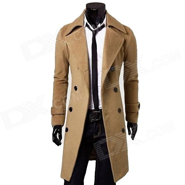 Double-Breasted Trench Men's Coat - Khaki (Size-XL)