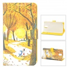 Protective Luminous PU Leather + Plastic Case for Samsung Galaxy Note 3 - Yellow + Black