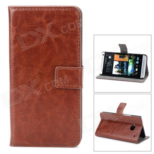 Protective PU Leather Case Cover Stand w/ Card Slots for HTC one M7 - Brown glossy leather wallet stand cover with 5 card slots for iphone 7 4 7 white