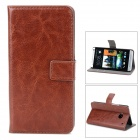 Protective PU Leather Case Cover Stand w/ Card Slots for HTC one M7 - Brown