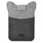 Mini0324 Super Thin Cute Cartoon Racoon Style Felt Fabric Pouch for Ipad MINI - Deep Grey + Silver