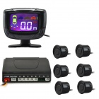 "PZ500-6 2"" LCD Digital Display Screen 6-Probes Parking Sensor - Black (DC 12V)"