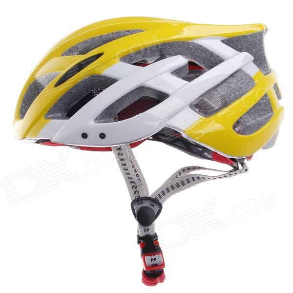 TITANS CG03DG-008 Outdoor Bicycle Cycling Helmet - Yellow + White (Size-L)
