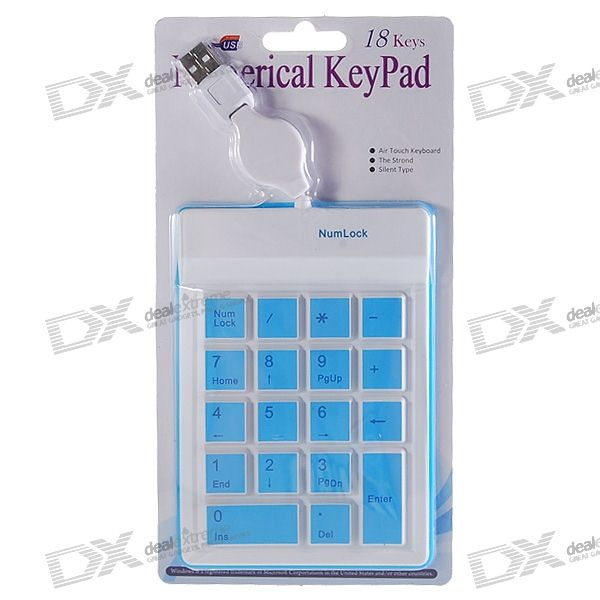 USB 18-Key Silicone Numeric Keypad/Numpad for Laptop (70CM-Cable) usb portable keypad with retractable cable