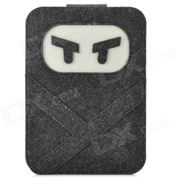 Mini0321 Super Thin Ninja Estilo lindo de la historieta Fieltro Tela Funda para Ipad MINI - Deep gris + blanco