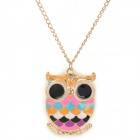 Cute Fat Owl Style Gold-plated + Epoxy Pendant Necklace for Women - Golden + Multicolored