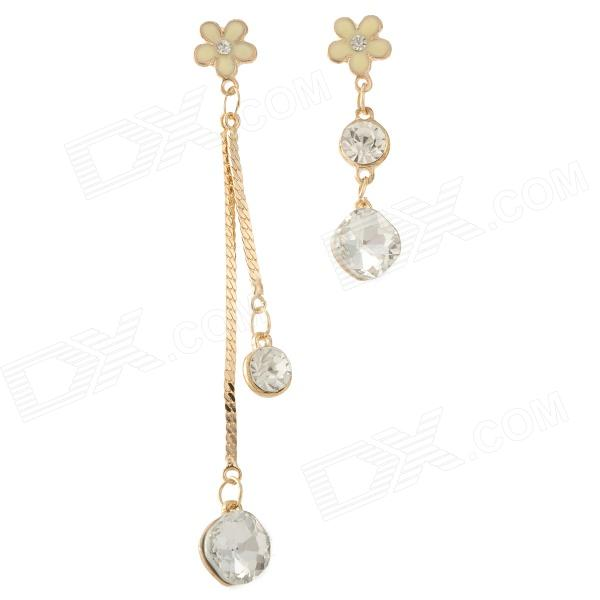 Stylish Gold-plated Alloy + Rhinestones Earbud Dangle Earrings for Women - Golden (2 PCS)