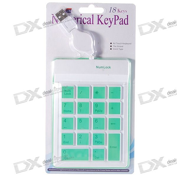 USB 18-Key Silicone Numeric Keypad/Numpad for Laptop (70CM-Cable) contact card reader with pinpad numeric keypad for financial sector counters