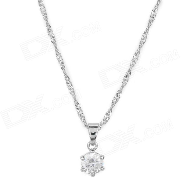 WH-02 Alloy Chain Zircon Necklace for Women - Silver