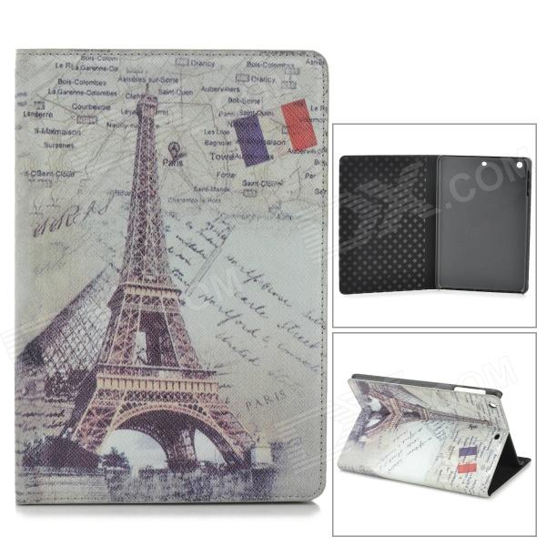 Fashion Eiffel Tower Pattern PU Leather Smart Case for Retina Ipad MINI - Light Green + Grey + Black stylish eiffel tower pattern pu leather flip open case w stand for ipad air grey white