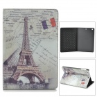 Fashion Eiffel Tower Pattern PU Leather Smart Case for Retina Ipad MINI - Light Green + Grey + Black