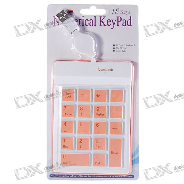 USB 18-Key Silicone Numeric Keypad/Numpad for Laptop (COlor Assorted/70CM-Cable)