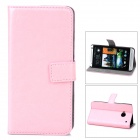 Protective PU Leather Flip-open Holder Case w/ Card Slot for HTC M7 - Pink
