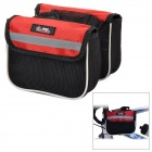 Mysenlan M86002 Handy 120D Mesh Fabric Saddle Double Bag for Bicycle - Black + Red