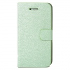 Silk Style Protective PU Leather + Plastic Case for Iphone 4 / 4S - Light Green