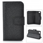 Silk Style Protective PU Leather + Plastic Case for Iphone 4 / 4S - Black