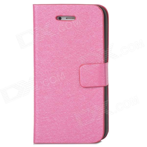 Silk Style Protective PU Leather + Plastic Case for Iphone 4 / 4S - Deep Pink protective pu leather plastic case w display window for iphone 4 4s maroon
