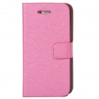 Silk Style Protective PU Leather + Plastic Case for Iphone 4 / 4S - Deep Pink