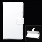 Protective PU Leather Flip-open Holder Case w/ Card Slot for Sony L36h - White