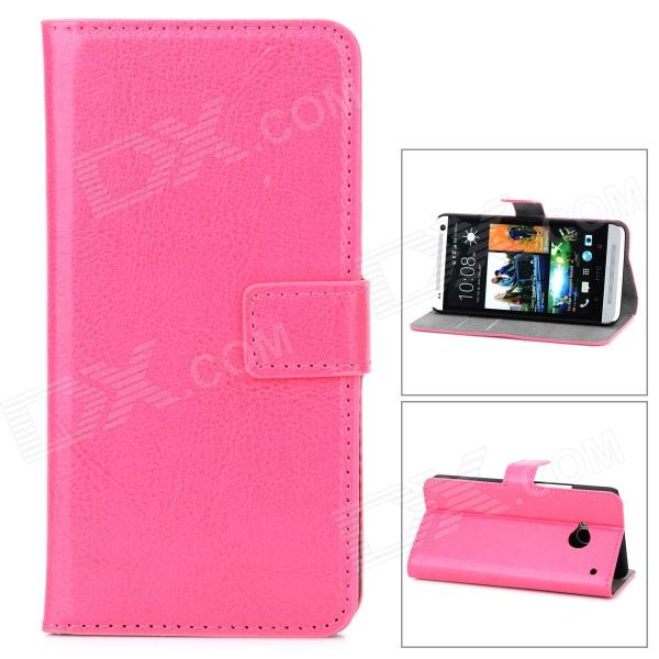 Protective PU Leather Holder Case w/ Card Slot for HTC M7 - Deep Pink stylish protective pu leather case w card holder slot for iphone 5 deep pink